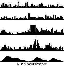 cityscape, skyline città, vettore