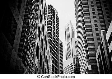 cityscape, urbano, grattacieli, tipico