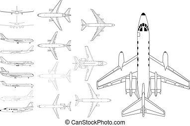 civile, aeroplano, pacco