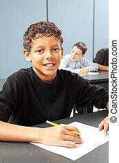 classe scolastica, mezzo, ragazzo