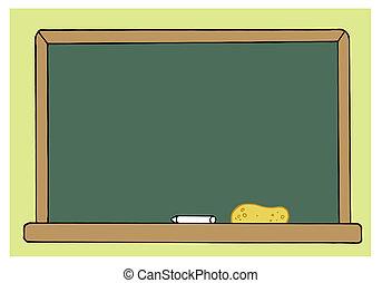 classe, verde, vuoto, stanza, lavagna