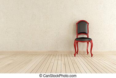 classici, contro, nero, parete, sedia, rosso