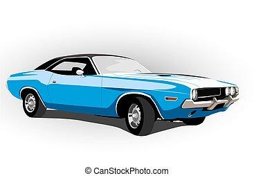 classico, caldo, automobile, blu