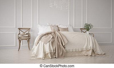 classico, camera letto, minimalistic, disegno interno, bianco