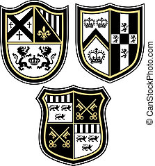 classico, emblema, araldico, cresta, shiel