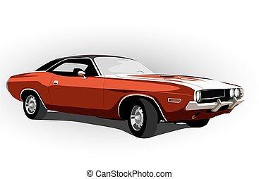 classico, muscolo, automobile, rosso