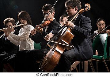 classico, orchestra, sinfonia, concert:, musica, palcoscenico