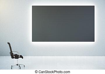 classico, parete, manifesto, vuoto, su, cuoio, nero, sedia, bianco, beffare