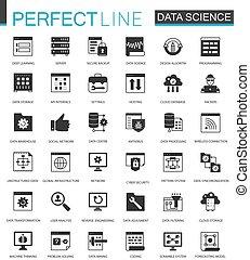 classico, set., icone, scienza, nero, analisi, dati