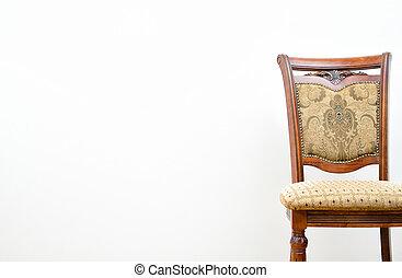 classico, sfondo bianco, sedia, parete