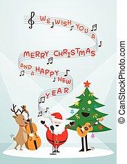 claus, canzone, renna, pupazzo di neve, santa, musica, cantare, gioco