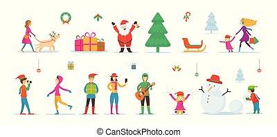 claus, pupazzo di neve, caratteri, santa, persone