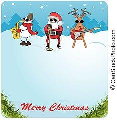 claus, pupazzo di neve, congratulazioni, giochi, card., guitar., cervo, scelta, sassofono, santa, natale
