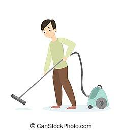 cleaning., uomo, vuoto