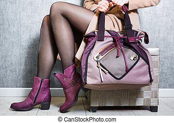 cliente, borsetta, primo piano, foto, proposta, femmina