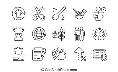 cliente, certificato., set., icons., approvato, chef, domanda, vettore, cappello, taglio, forbici, linea, esame, lineare