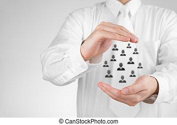 cliente, concetto, assicurazione, cura