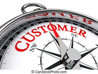 cliente, concettuale, parola, rosso, bussola