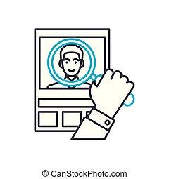 cliente, contorno, illustrazione, segno, simbolo, analisi, colpo, vettore, magro, icon., linea, concept., lineare