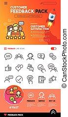 cliente, disegno, feedback, icone