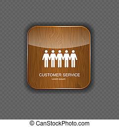 cliente, domanda, legno, servizio, icone