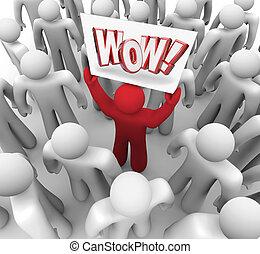 cliente, folla, wow, suprise, segno, soddisfazione, presa a terra, uomo