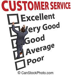 cliente, forma, affari, soddisfazione, servizio, uomo