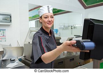 cliente, negozio, macellai, pagamento