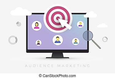 cliente, segmentation., recluta, illustrazione, marketing, mercato, vettore, pubblico, risorse, bersaglio, umano, cura, analisi, concetto