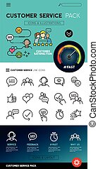 cliente, sevice, disegno, icone