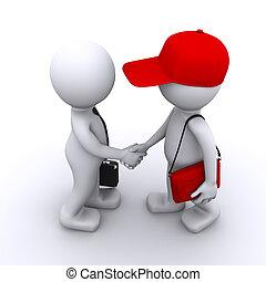 cliente, uomo affari, 3d, stringere mano