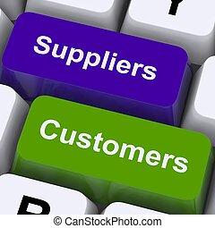 clienti, catena, mostra, chiavi, suppliers, fornitura, distribuzione, o