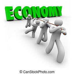 clienti, finanziario, lavorante, crescita, parola, economia, tirato, migliorare
