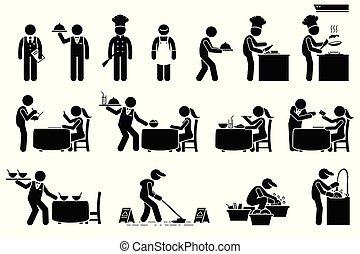 clienti, lavorante, personale, restaurant., icone