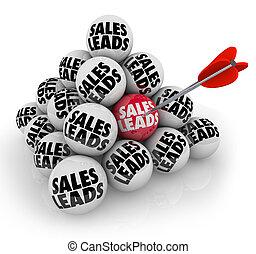 clienti, piramide, affari, prospettive, vendite, piombi, palle, nuovo