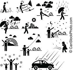 clima, tempo, atmosfera, persone