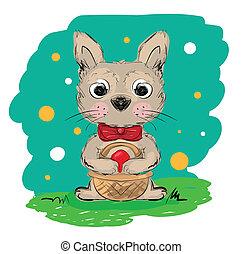 clip-art, presa a terra, pasqua, illustrazione, coniglio, cesto, uovo, cartone animato, rosso, illustration.