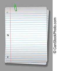 clip, quaderno, riflettore, carta, fondo, 2, pagine