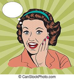 clipart, commerciale, illustrazione, retro, donna, felice