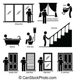 cliparts, casa, dispositivi per fissaggio e serraggio, interno, casa