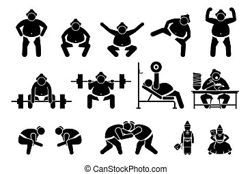 cliparts., giapponese, lottatore, pictogram, sumo, icone