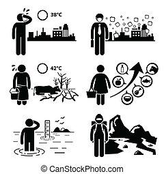 cliparts, globale, effetti, warming
