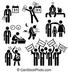 cliparts, lavoratore, problema, finanziario