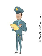clipboard., scrittura, uniforme, giovane, poliziotto