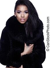 closeup, cappotto, trucco, nero, perfetto, glamor, bello, pulito, pelliccia, ritratto, sexy, modello, donna, luminoso, giovane