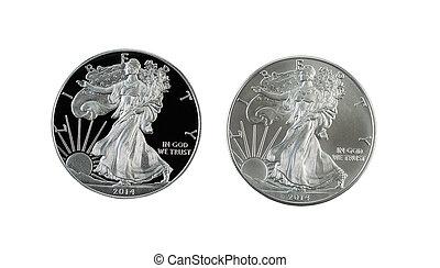 closeup, dollaro, americano, isolato, foto, aquila, lato, monete, uncirculated, prova, argento, bianco