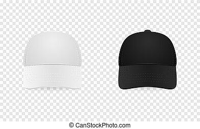 closeup, manichino, baseball, sagoma, marcare caldo, set., bianco, isolato, trasparente, fondo., disegno, vector., fronte, nero, pubblicizzare, berretto, vista., icona