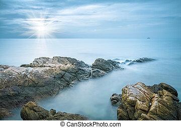 closeup, pietre, mare