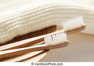 closeup, spazzolino, legno, asciugamano
