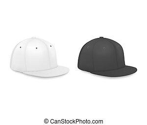 closeup, vista, set, baseball, marcare caldo, render, realistico, manichino, berretto, isolato, lato, fondo., vettore, disegno, sagoma, vuoto, nero, bianco, icona, advertise., 3d
